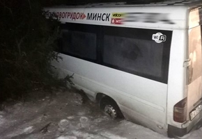 Под Новогрудком маршрутка с беременной пассажиркой на закруглении дороги улетела в кювет
