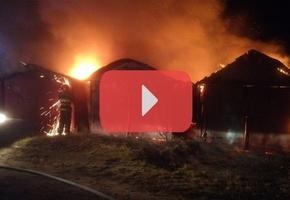 В Лиде ночью горели шесть гаражей