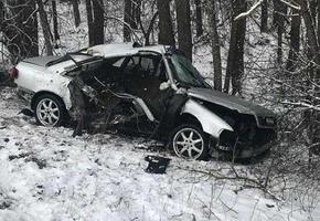 В Лидском районе Audi врезалась в трактор. Водитель чудом остался жив