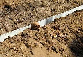В Лиде под Фарным костёлом нашли череп и кости