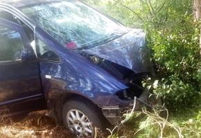 В Лидском районе женщина отвлеклась от управления и направила свой минивэн в дерево
