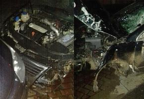 В Лиде пьяный водитель на VW Passat повредил знак, светофор и врезался в припаркованный Citroën