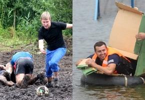 Фотоотчет по болотному футболу и плаванию «на чем попало»