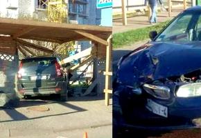 В результате ДТП в Лиде внедорожник пробил бетонный забор стройки